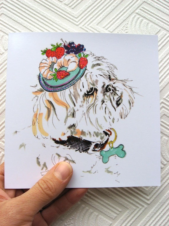 Arthur Loves Croissants - ShihTzu Illustration - Shih Tzu Drawing In Hat - Square blank greetings card