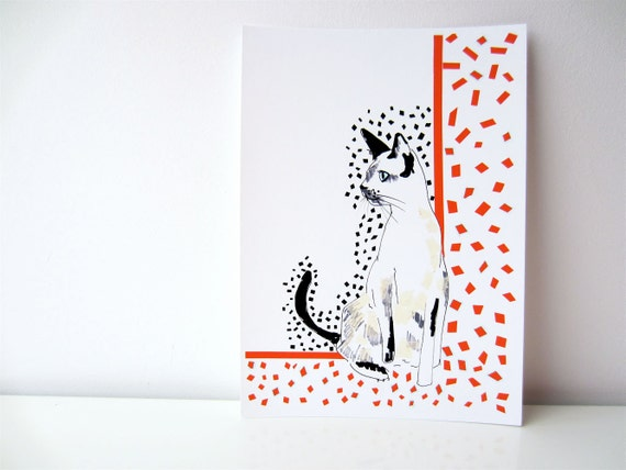 Red and White Siamese Cat - Archival A4 Print from original illustration