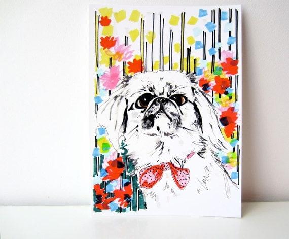 Peeko - Dog in Flowers -  Pekingnese Illustration - Pekingnese Portrait - Archival A4 Print from original illustration