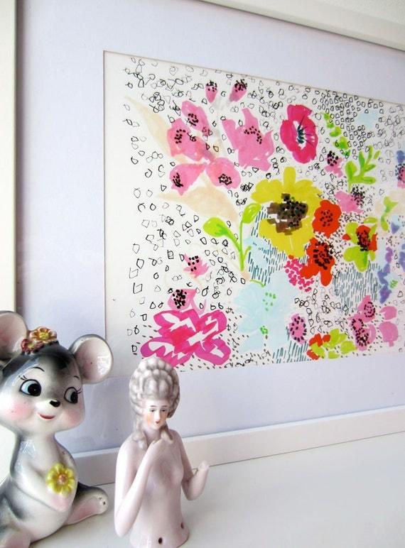 Floral Doodle - Floral Illustration - Archival A4 Print from original illustration