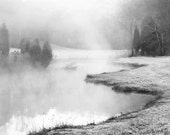 black and white landscape photography / winter /  fog /  grey /  November Frost 12 x 8 print