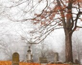 photography / cemetery, graveyard, fall, gothic, victorian 1852, 8 x 8 print
