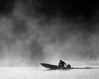 black and white photography, photography, boats, boat photography, fishing, lake house decor, Halcyon