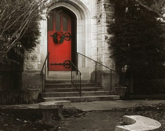 fall photography, red door, winter, church, gothic, red, Christmas, landscape, architecture, St. John's Red Door