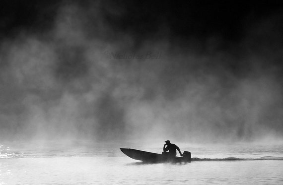 Photography, black and white / boat, boating, fishing, fog, foggy, / Halcyon, 12 x 8 print
