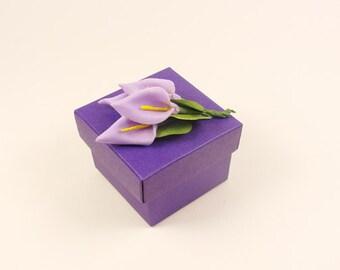 Calla Lily Purple Wedding Favor Box,Set of 25-Perfect for  lily themed weddings, purple weddings, bridesmaids gift