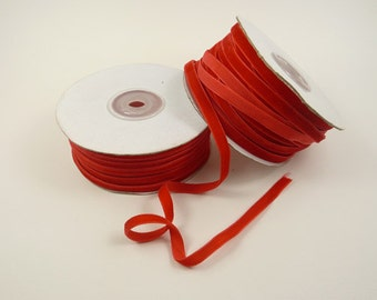 3yds- 1/4'' Luxury red velvet ribbon for all scrapbooking, packaging, favor boxes etc.