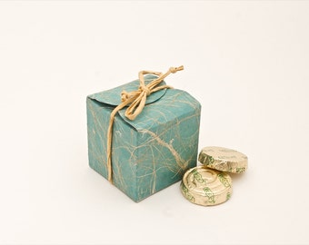 Teal cube wedding favor box Set of 10- Eco friendly favors made out of saa paper suitable for weddings, parties etc