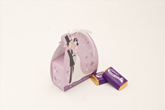 20 Personalised Purple Wedding Favor Boxes With The Words ''Thank You''-Ideal for wedding reception parties, anniversary parties.