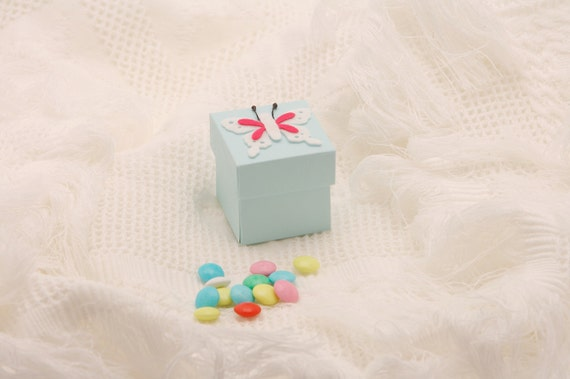 Baby Blue Christening Favor Box With White Felt Butterfly- A perfect gift for your baby's baptism day, birthday party, baby shower favor