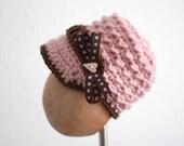 Knit Crochet Baby Girl hat Beanie Pink Newsgirl, Newsboy hat with Bow, Newborn, 3, 6, 9, 12 months, photo prop