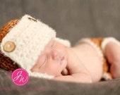 Crochet Baby Boy Hat Beanie Aviator Hat and matching diaper cover set, Orange, Newborn Photography Prop