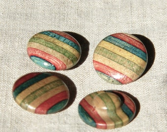Vintage Multicolored Wooden Buttons