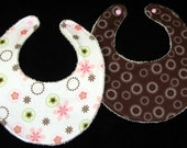 Most Absorbent Droolie Bibs - Custom Made Just for You - Set of 2, Soft Flannel Reverses to ORGANIC Terry Cloth