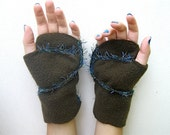 Fingerless gloves sewn fleece embroidered olive green with blue fringe handmade for warm hands special gift