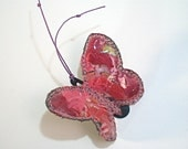 SALE- Fabric Butterfly Hair clip scraps vinyl cover embroidery pink red eco-friendly recycled textile cute girl gift idea unique ooak