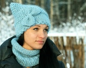 Warm Sky Blue Hat with Butterfly.