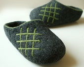 Hand Felted Slippers for Everyone. Dark Gray with Green ornament.