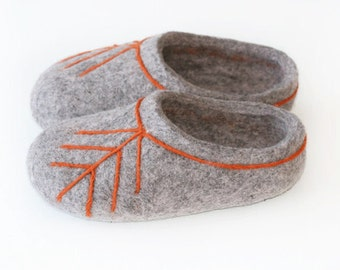 Made to order. Hand Felted Slippers for Everyone. Gray with latvian ethnographic ornament.