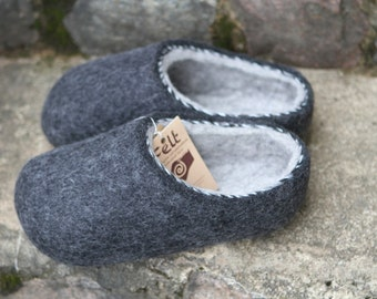 Hand Felted Soft Slippers for Men. Dark Gray with  Light Gray inside. Size  EU 43 ready to ship!
