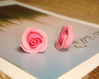 Sweet Pink Rose Stud/Post Earrings (E08)