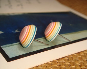 SALES - Rainbow Horizontal Stripes Cabochon Stud/Post Earrings (E104)