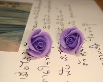Sweet Purple Rose Stud/Post Earrings (E12)