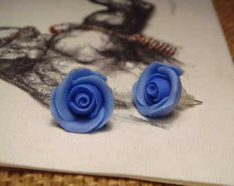 Sweet Blue Rose Stud/Post Earrings (E01)