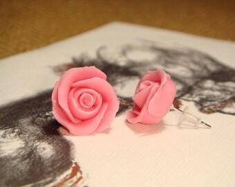 Sweet Pale Pink Rose Post Earrings (E07)