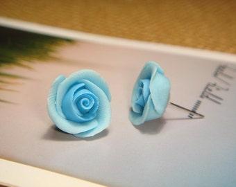 Sweet Sky Blue Rose Post/Stud Earrings (E06)