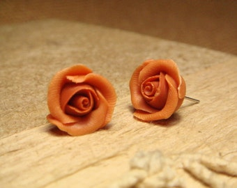 Sweet Brown Rose Stud/Post Earrings (E03)
