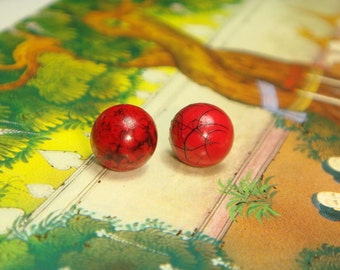 Cute Small Faux Red Stone Cabochon Post Earrings (E481)