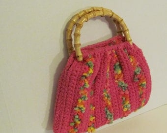 Hot Pink Crocheted Purse with Bamboo Handles