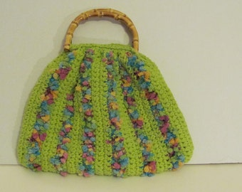 Lime Green Crocheted Purse with Bamboo Handles