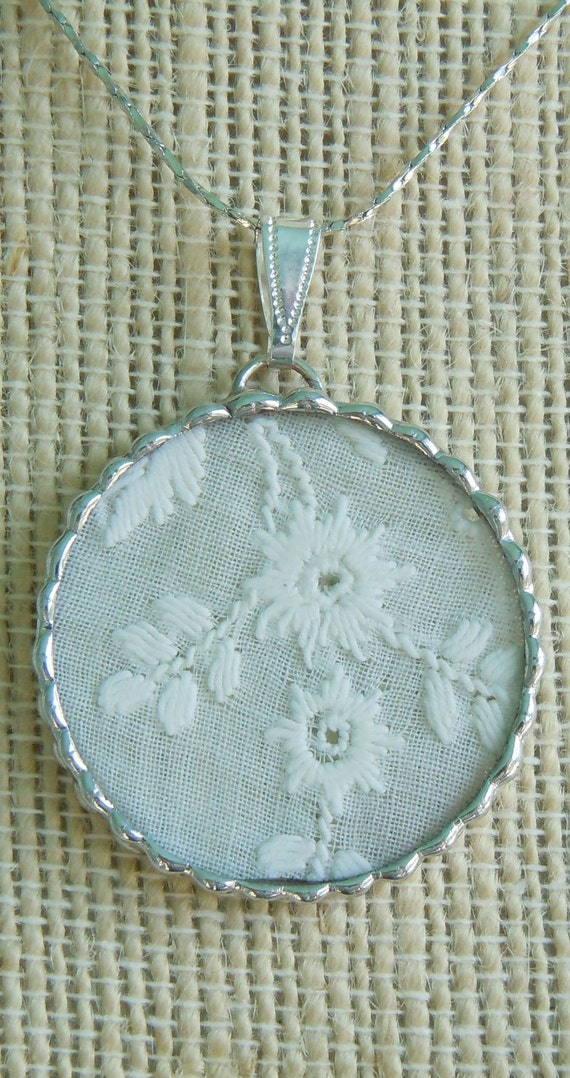 Fiona and The Fig  Antique Swiss Embroidery Lace Charm Soldered Necklace Pendant