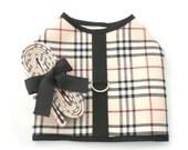 Plaid Dog Puppy Clothes Harness Vest Leash set