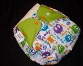 Mo Dia Diapers Primary Ooga Booga one-size pocket diaper with Hemp insert, FREE SHIPPING