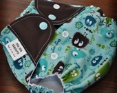 MoDia Aqua Ooga Booga one-size pocket diaper with hemp insert FREE SHIPPING