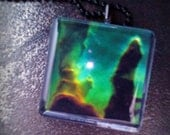 Eagle Nebula Glass Tile Pendant with Chain