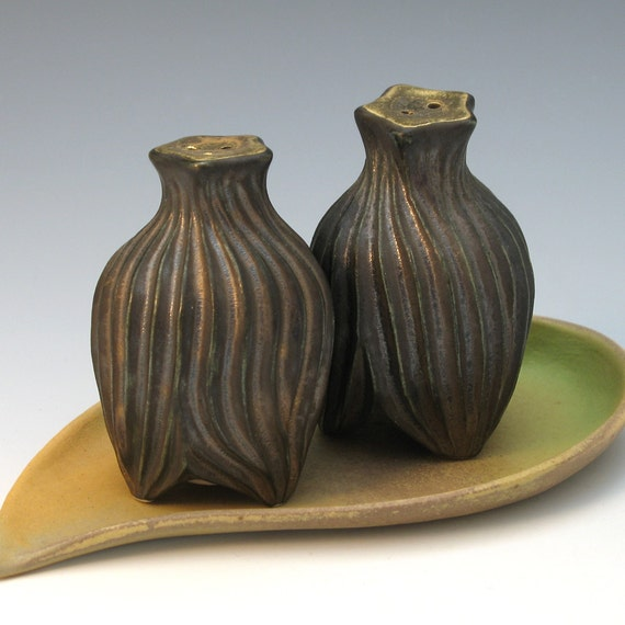 Hand carved bronze salt & pepper shakers with gold luster