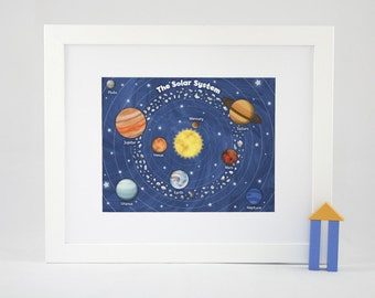 "Outer Space Solar System - 11"" x 14"" Fine Art Print - Children's Outer Space Theme Room Decor"