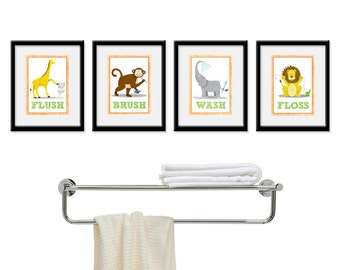 Jungle Bathroom Kids Art - Set of Four 5 x 7 Bathroom Decor Prints - kids decor, children safari wall art, bathroom art, kids bathroom