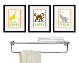 Kids Bathroom Wall  Art - Three 5 x 7 Bathroom Jungle Safari Prints. Bathroom Rules - Wash, Brush & Flush Children Wall Decor