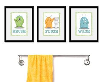 Kids Bathroom Art - Three 5 x 7 Archival Giclee Bathroom Monster Prints