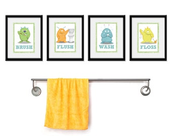 Kids Bathroom Monster Prints - Set of Four 5 x 7 - Kids Bathroom Prints - kids bathroom - kids bath