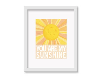 "Children's Wall Art - You Are My Sunshine Print - 8"" x 10"" Children's Decor Wall Art Print - Nursery Room Decor"