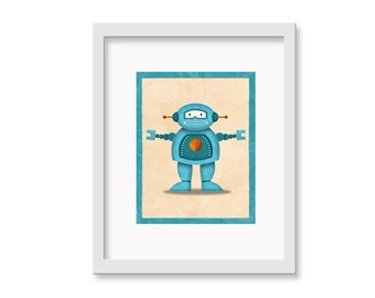 "Robot Print ""Fred"" - 11"" x 14"" Children's Decor Wall Art Print - Children's Retro Robot Theme Room Decor"