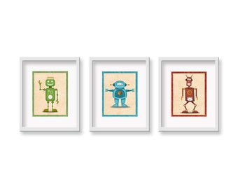 Retro Robot Art - CHOOSE THREE 8 x 10 - Childrens Robot Wall Art - Childrens Retro Robot Art - Robot Art Room Decor