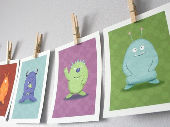 Monster Children Wall Art - Set of 6 Monsters (You Choose) - 5 x 7 Archival Giclee Prints - Kids Wall Art