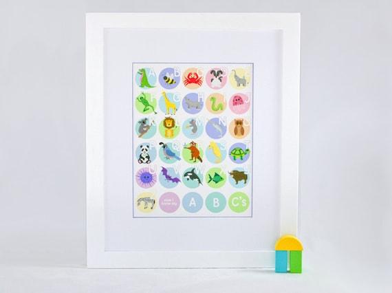 Kids Animal Alphabet Poster - Alphabet Nursery Art - Pastels - 11x14 Alphabet Print
